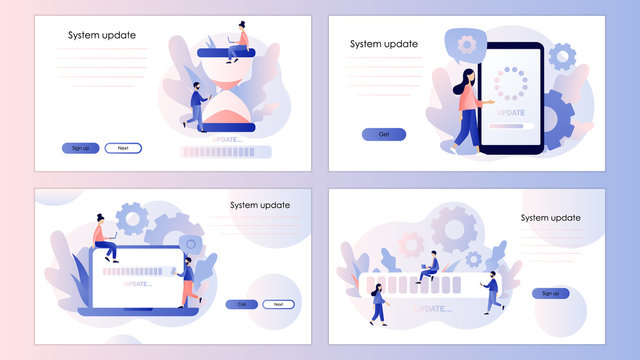 System update concept. Screen template for mobile smart phone, landing page, template, ui, web, mobile app, poster, banner, flyer. Modern flat cartoon style. Vector illustration