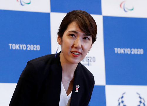Paralympic medal designer Sakiko Matsumoto attends a news conference at the 'One Year to Go' ceremony celebrating one year out from the start of the Paralympic Games in Tokyo
