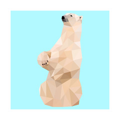 Low poly vector polar bear image