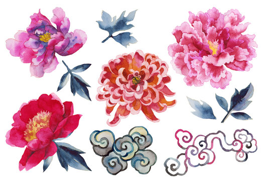 Set with traditional Asian watercolor flowers, chrysanthemums, peonies, dahlias, sakura on a white background. Asia culture symbols bundle. Chinese sketches. Asian drawings collection. China. Japan.