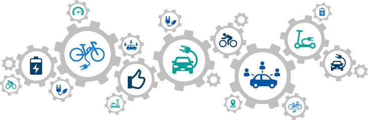 new mobility icon concept: modern individual transportation alternatives, e-car, e-bike, scooter, car sharing - vector illustration Wall mural