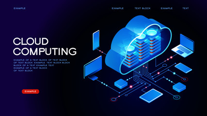 Cloud computing.  Online devices upload, download information. Data in database on cloud services. Isometric concept. Modern 3d isometric vector illustration of web page. Wall mural