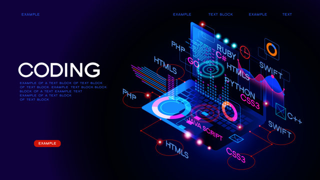Workflow group of programmers. Programmers in the coding process. Programming concept.  3D vector isometric illustration.