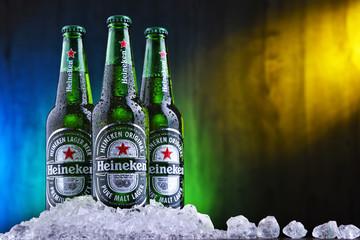 Three bottles of Heineken beer