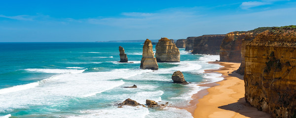 Twelve Apostles Marine National Park, Victoria, Australia. Copy space for text.