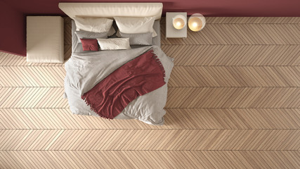 Obraz Comfortable colored modern white and red bedroom with wooden herringbone parquet floor, bed with blanket and pillows, minimal interior design, plan, top view, above - fototapety do salonu