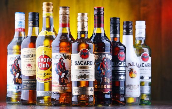 Bottles of best selling global rum brands