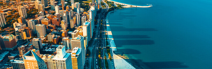 Photo sur Plexiglas Chicago Chicago cityscape with a view of Lake Michigan from above