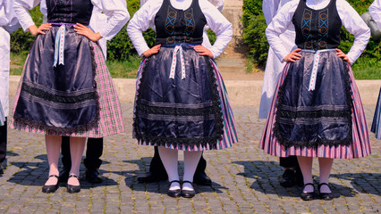 Hungarian Traditional woman dance folkloric customs.