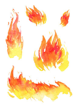 Watercolor fire. Set of different hand drawn flames. Isolated sketch illustration
