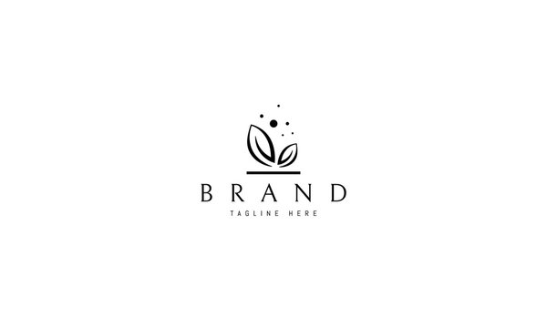 Vector logo with abstract elegant image of two leaves.