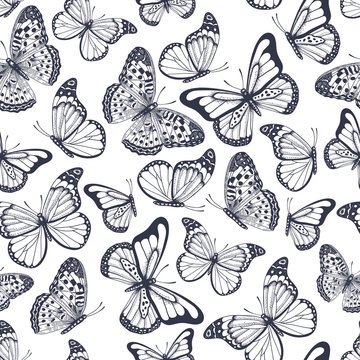 Hand drawn seamless pattern with outline butterflies