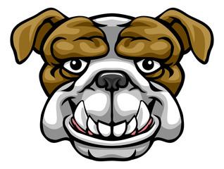 A bulldog mascot friendly cute happy animal cartoon character