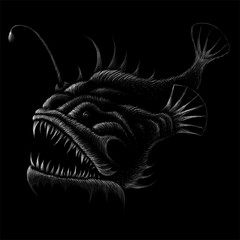 The vector fish print for fish hunting. This drawing is for black fabric or canvas.