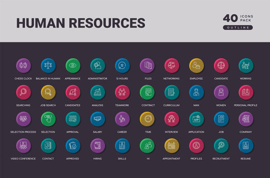 human resources concept 40 outline colorful round icons set