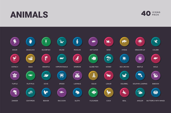 animals concept 40 colorful round icons set