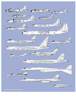 History of american bombers.  Aircraft profiles. Outline vector drawing