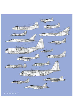 American navy and air force attack planes. Aircraft profiles. Outline vector drawing