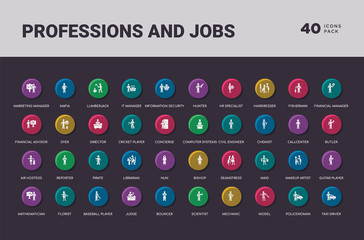 professions and jobs concept 40 colorful round icons set
