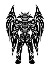 Black tattoo art with cartoon winged demon
