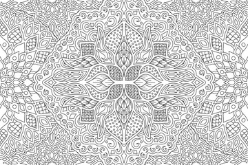 Beautiful adult coloring book page with linear detailed monochrome abstract pattern