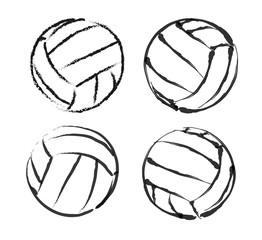 Set of stylized illustration of a volleyball background. Sport vector illustration. Isolated on white background.