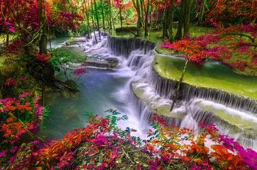 Deurstickers Watervallen amazing of huay mae kamin waterfall in colorful autumn forest at Kanchanaburi, thailand