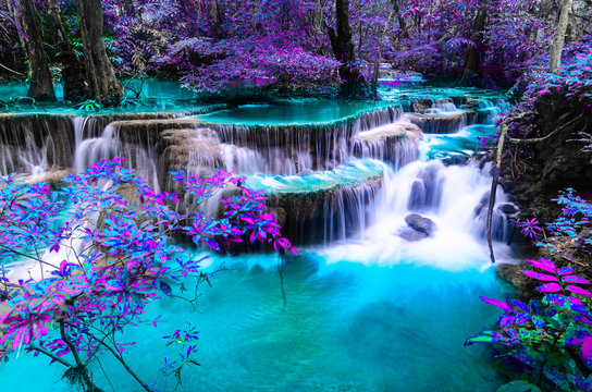 amazing of huay mae kamin waterfall in colorful autumn forest at Kanchanaburi, thailand