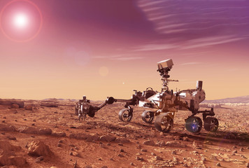 Mars explores the surface of the planet. Elements of this image were furnished by NASA