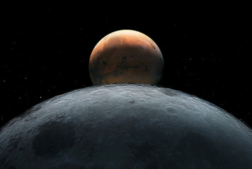 View from the moon to Mars, in free space. Elements of this image were furnished by NASA