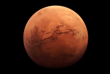 Planet Mars, in red rusty color, on a dark background.  Elements of this image were furnished by NASA