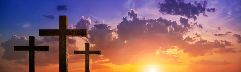 panoramic view Silhouette of crucifix cross time for background.Jesus . concept Christian Happy Easter.for wallpaper or background .
