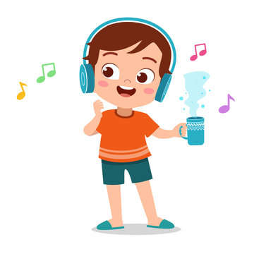 happy kid listening music vector
