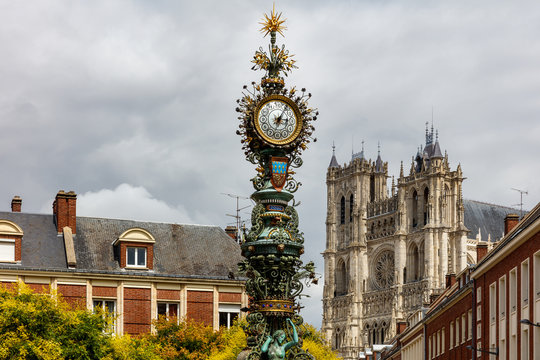 View of the Dewailly clock with the Cathedral in the background,France, Amiens