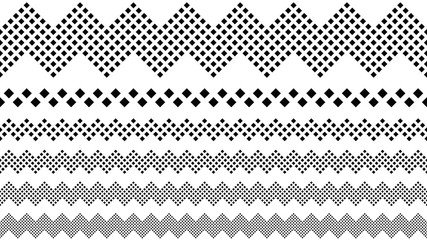 Repeating geometrical square pattern page break set - monochrome abstract vector graphic design elements from squares Wall mural