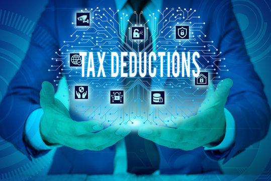 Text sign showing Tax Deductions. Business photo showcasing an amount or cost that subtracted from someone s is income Male human wear formal work suit presenting presentation using smart device