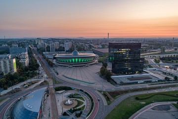 Aerial drone view on Katowice at early morning. Katowice in capital and the largest city of Silesia voivodeship. Wall mural