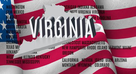 Virginia inscription on American flag background .3D illustration