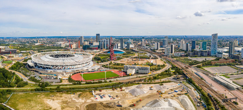 August 10, 2019. London, UK. Aerial view of the Olympic park in London with the the Olympic Stadium and the ArcellorMittal Orbit tower.