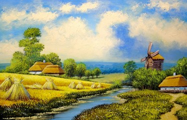 Oil paintings rural landscape, old village.  Fine art, artwork, landscape with lake and trees