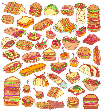 Sandwiches. Colorful hand drawn vector set isolated on background. Various fast food meals - burgers, tacos, sliders, tapas, falafel, burritos, subs, toasts, deli wraps and rolls