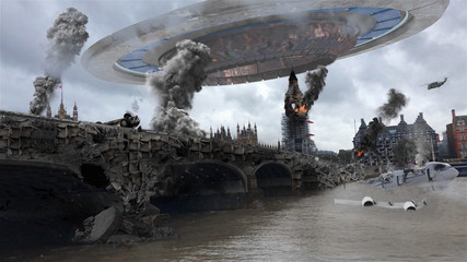 Alien Spaceship Invasion Over Destroyed London City Illustrattion