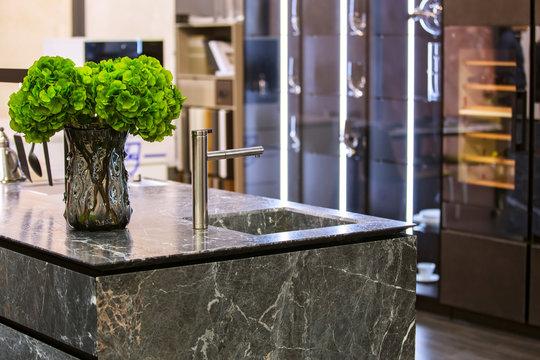 Beautiful modern kitchen design, kitchen faucet and kitchen decor, gray marble kitchen island
