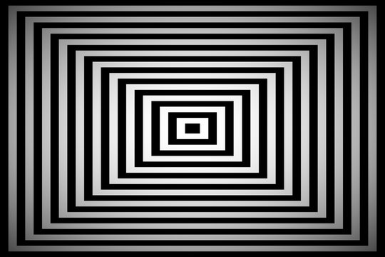 Black and white square illusion, simple abstract pyramid background