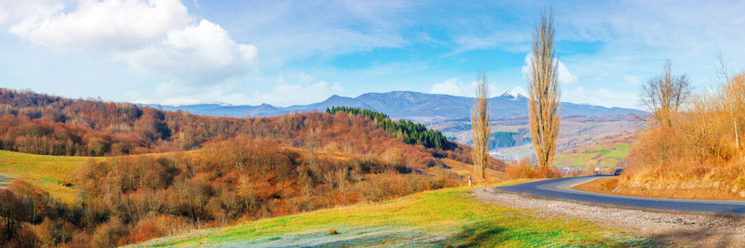sunny morning in mountainous countryside. panorama of ukrainian carpathian rural area in november. leafless trees on hills and along the road bend. ridge with snow capped pikui peak in the distance
