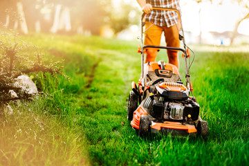 Close up details of mowing the lawn with manual machinery