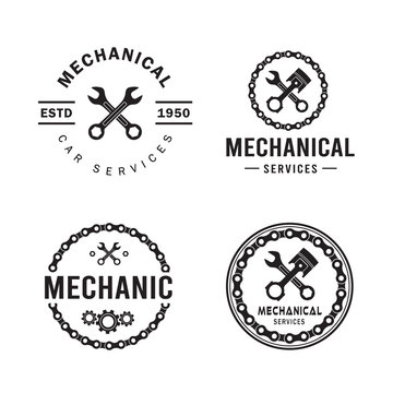 Mechanic logo set, services,engineering,repair,piston