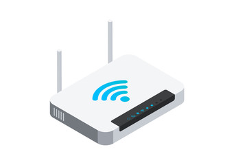 Isometric network wi-fi router with two antennas. Vector illustration isolated on white background.