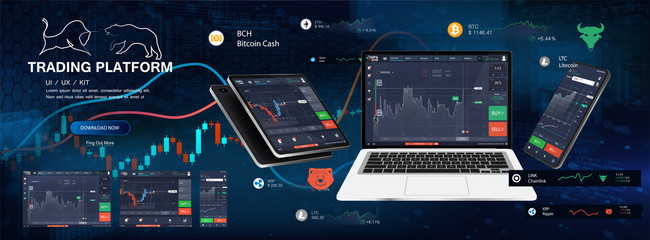 Trade Platform App Screens, UI design smartphone, tablet, notebook. Forex market, stock platform, binary option. Application screen for trading. Candles and indicators. Cryptocurrency and finance. Wall mural