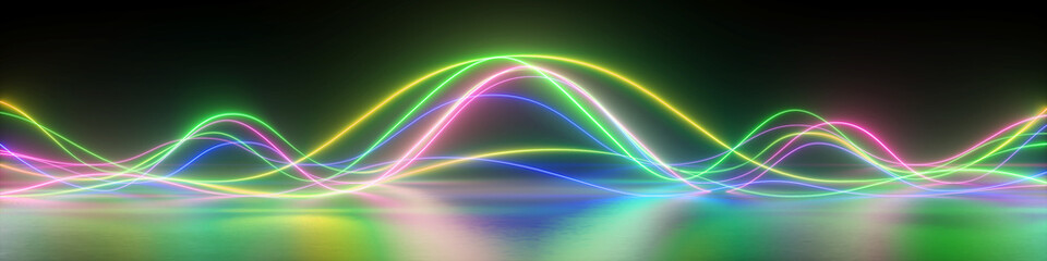 Poster Abstract wave 3d render, abstract panoramic background with colorful glowing neon waves, ultraviolet light, equalizer chart, laser show, impulse, pulse power lines